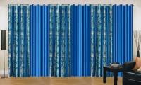 Ville Style 275 cm (9 ft) Polyester Long Door Curtain (Pack Of 6)(Floral, Aqua, Light Blue)