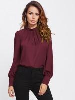 Alfa Fashion Party Puff Sleeve Solid Women Maroon Top