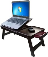 Style Homez High-Quality MDF Matte Brown Portable Folding Laptop Table with Drawer Engineered Wood Portable Laptop Table(Finish Color - Matte Brown)
