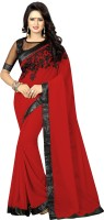 SNH Export Embroidered Bollywood Georgette Saree(Red)