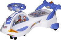 NHR Kids Deluxe Free Wheel Magic Swing Concept Car Ride-On - White(White)