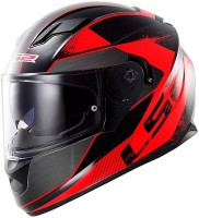 LS2 Stringer Black Red Dual Visor Helmet Motorbike Helmet(Black, Red)