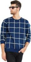 Maniac Checkered Men's Round Neck Dark Blue, Beige T-Shirt