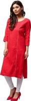 Jaipur Kurti Women Self Design Straight Kurta(Red)