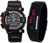 Uneque trend s shock big black+black led0202 latest s shock big black dial dual time analog digital + black LED digital watch for men and boys (pack of 2) Watch  - For Men