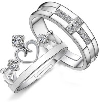 Yellow Chimes Darling Heart Crown Metal Ring Set
