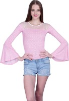 PeppyTone Casual Bell Sleeve Printed Women Pink Top