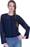 PeppyTone Casual Full Sleeve Solid Women Blue Top
