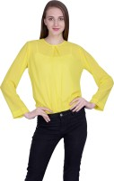 PeppyTone Casual Full Sleeve Solid Women Yellow Top