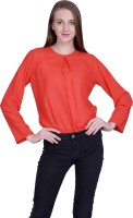 PeppyTone Casual Full Sleeve Solid Women Red Top