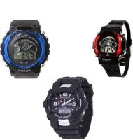 Uneque trend s shock black sml&red and blue seven light latest s shock small black dial analog digital sports with red&blue seven light digital sports watch for men and boys Watch  - For Men