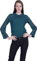 PeppyTone Casual Full Sleeve Solid Women Green Top
