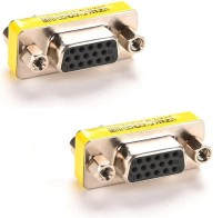 RETRACK SET OF 2PC VGA FEMALE/FEMALE Mini Gender Changer(15Pin) USB Adapter(Silver)