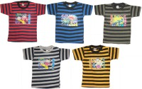 Kifayati Bazar Boy's & Girl's Graphic Print Cotton T Shirt(Multicolor, Pack of 5)