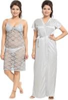 Noty Women's Nighty with Robe(Silver)