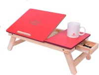 Emeret laptop table for bed adjustable laptop table small laptop table laptop tables adjustable height red drawer Bamboo Portable Laptop Table(Finish Color - Red)