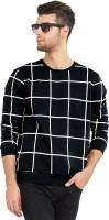 Maniac Checkered Men's Round Neck Black, White T-Shirt