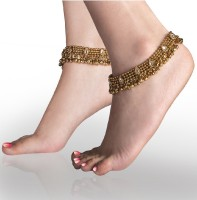 Charms Antique Golden Ethnic Kundan Studded Alloy Anklet(Pack of 2)