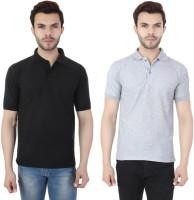 Ansh Fashion Wear Solid Men Polo Neck Black, Grey T-Shirt(Pack of 2)