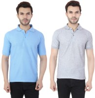Ansh Fashion Wear Solid Men Polo Neck Blue, Grey T-Shirt(Pack of 2)