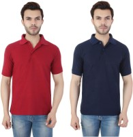 Ansh Fashion Wear Solid Men Polo Neck Maroon, Blue T-Shirt(Pack of 2)