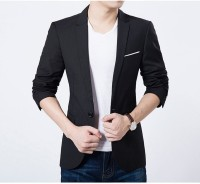 one click Solid Single Breasted Party, Festive, Casual Men's Blazer(Black)