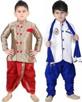 FTC FASHIONS Boys Festive & Party Kurta, Dhoti Pant & Dupatta Set(Multicolor Pack of 2)