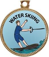 Keepsake Awards Water Skiing Award, 1 Inch Dia Gold Medal