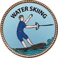 Keepsake Awards Water Skiing Award, 1 Inch Dia Gold Pin