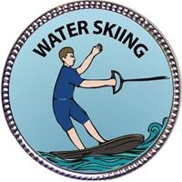 Keepsake Awards Water Skiing Award, 1 Inch Dia Silver Pin