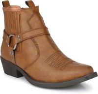 Delize Leather CowBoy Ankle Boots Boots For Men(Tan)