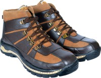 RICH FIELD Genuine Leather High Ankle Safety Shoe with Steel Toe Boots For Men(Brown)