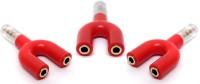 RETRACK SET OF 3PC3.5mm Jack Splitter Male to 2 Female Earphone Audio U shape Stereo headphone Spiltter USB Adapter(Red)