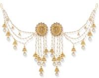 Aadita Bahubali Jhumka Earrings with Long Chain Diamond, Pearl Alloy Jhumki Earring