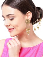 Luxor Jhumkhi with Hair Chain Diamond Alloy Jhumki Earring