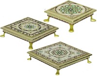 Apkamart Handicraft Minakari Bajot Set of Three for Festive Decor and Gifts Wood All Purpose Chowki(Multicolor, Pack of 3)