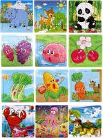 Wishkey Wooden Puzzle Games For Kids Set Of 12 Animal, Fruit, Marine & Vegetable Character Wooden Jigsaw Puzzle(16 Pieces)