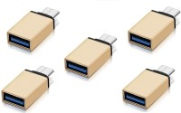 RETRACK SET OF 5PC Metal Type C Male to USB3.0 Female for Laptop Mobile OTG USB Adapter(Gold)