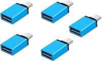 RETRACK SET OF 5PC Metal Type C Male to USB3.0 Female for Laptop Mobile OTG USB Adapter(Blue)