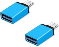 RETRACK SET OF 2PC Metal Type C Male to USB3.0 Female for Laptop Mobile OTG USB Adapter(Blue)