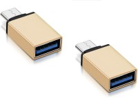 RETRACK SET OF 2PC Metal Type C Male to USB3.0 Female for Laptop Mobile OTG USB Adapter(Gold)