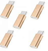 RETRACK SET OF 5PC Alumium Alloy Micro-Usb Female To Male USB-3.1 USB Adapter(Gold)