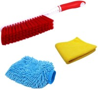 De-Ultimate Combo Of Carpet / Car Seat / Mats / Bed Cleaning Hard & Long Bristles Plastic Wet and Dry Brush, Multi Purpose Microfiber Home Office Car Bike Vehicle Washing Cleaning Hand Glove Mitts And Super Clean Polish Towel Wet and Dry Microfiber Cleaning Cloth Cleaning Brush, Cleaning Cloth, Glov