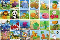 Wishkey Wooden Puzzle Games For Kids Set Of 24 Animal, Fruit, Marine & Vegetable Character Wooden Jigsaw Puzzle(16 Pieces)