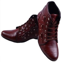 ADISO Men's Maroon ankle length Boots For Men(Maroon)