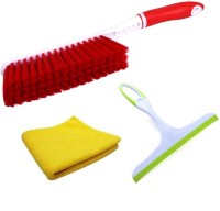 De-Ultimate Set Of Carpet / Car Seat / Mats / Bed Cleaning Hard & Long Bristles Plastic Brush, Multi Purpose Microfiber Super Clean Polish Towel Wet & Dry Microfiber Cleaning Cloth And Non Scratch Glass Wiper Cleaner For Window Windshield Windscreens Kitchen Bathroom Tiles Mirrors Glass with Non-Sli