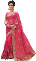 Pragati Fashion Hub Embellished Fashion Net Saree(Red, Gold)