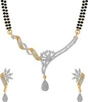American Diamond Copper, Brass Jewel Set(Gold, White)