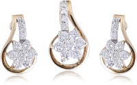 Jisha Yellow Gold 14kt Diamond Earring & Pendant Set