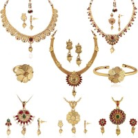 Spargz Brass Jewel Set(Gold, Maroon)